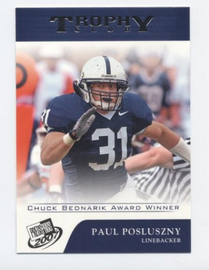 PAUL POSLUSZNY 2007 Press Pass Trophy Club #72 ROOKIE Penn State PSU Bills
