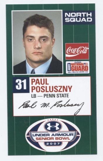 PAUL POSLUSZNY 2007 Senior Bowl card PENN STATE Bills PRE-ROOKIE