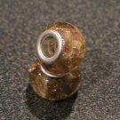 Murano Glass Bead Silver fits Pandora & Troll S152 YELLOW w/ gold foil