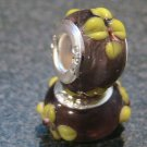 Murano Glass Bead 925 Silver fits Pandora & Troll S206 Flower Raised Purple