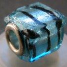 Murano Glass Bead SQUARE CUBE fits Pandora & Troll C503 Clear Metallic Blue w/ Black Stripes