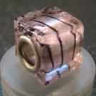 Murano Glass Bead SQUARE CUBE fits Pandora & Troll C506 Clear Metallic Pink w/ Black Stripes