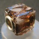 Murano Glass Bead SQUARE CUBE fits Pandora & Troll C508 Clear Amber w/ Gold Stripes & White