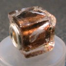 Murano Glass Bead SQUARE CUBE fits Pandora & Troll C516 Clear Amber w/ Silver Stripes