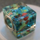 Murano Glass Bead SQUARE CUBE fits Pandora & Troll C522 Clear Blue w/ assorted speckle