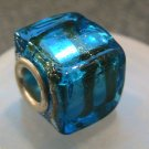 Murano Glass Bead SQUARE CUBE fits Pandora & Troll C523 Clear Metallic Blue w/ Gold Stripes