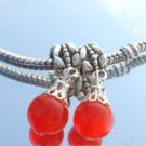 Murano Glass DANGLE Silver Bead fits Pandora & Troll D400 Red