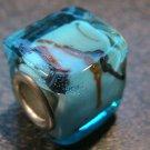 Murano Glass Bead SQUARE CUBE fits Pandora & Troll C530 Clear Light Blue w/ Black & Orange Stripes