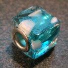 Murano Glass Bead SQUARE CUBE fits Pandora & Troll C531 Clear Blue w/ White