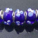Murano Glass Bead 925 Silver fits Pandora & Troll S252 Blue w/ Flower