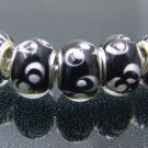 Murano Glass Bead 925 Silver fits Pandora & Troll S257 Black w/ White Swirl