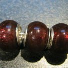 Murano Glass Bead 925 Silver fits Pandora & Troll S253 Ruby Red Foil