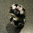 Murano Glass Bead 925 Silver fits Pandora & Troll S272 Black Solid Spotted