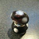 Murano Glass Bead 925 Silver fits Pandora & Troll S289 Deep Purple w/ White Spots