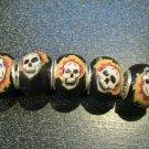 Fimo Bead fits Pandora & Troll S313 Flaming Skulls