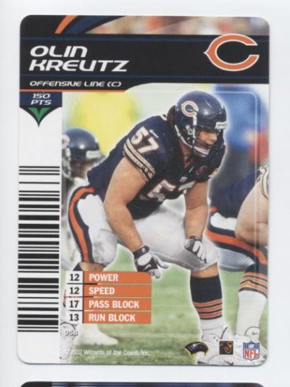 OLIN KREUTZ 2002 NFL Showdown #58 ROOKIE Bears HAWAII Washington Huskies