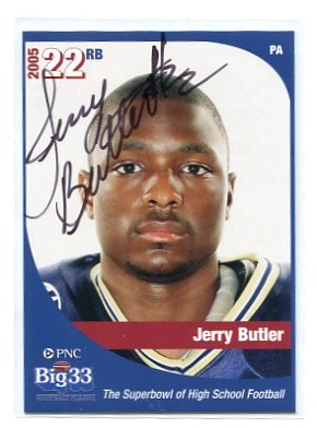 JERRY BUTLER 2005 Big 33 PA High School card AUTO Autograph WISCONSIN Badgers