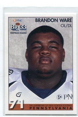 BRANDON WARE 2008 Big 33 Pennsylvania High School card PENN STATE Nittany Lions OL