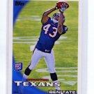 BEN TATE 2010 Topps #416 ROOKIE Texans AUBURN Tigers RB