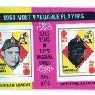 YOGI BERRA & ROY CAMPANELLA 1975 Topps #189 1951 MVP BV $4