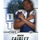 NICK FAIRLEY 2011 Sage Hit ROOKIE Auburn Tigers DETROIT LIONS