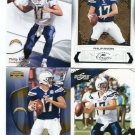 (4) PHILIP RIVERS 2009 lot Classics GRIDIRON GEAR Score SP AUTHENTIC SD Chargers NC State QB