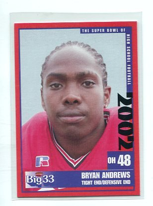 BRYAN ANDREWS 2002 Big 33 Ohio High School card WAKE FOREST Demon Decons