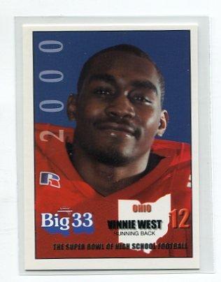 VINNIE WEST 2000 Big 33 Ohio High School card TOLEDO RB