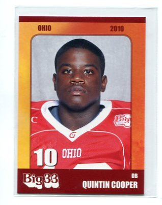 QUINTON COOPER 2010 Big 33 Ohio High School card BALL STATE DB