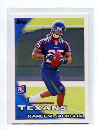 KAREEM JACKSON 2010 Topps #2 ROOKIE Houston Texans ALABAMA Crimson Tide