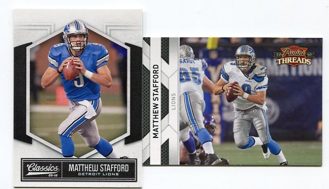 (2) MATTHEW STAFFORD 2010 Panini Donruss Threads & Classics lot Lions GEORGIA Bulldogs DAWGS QB