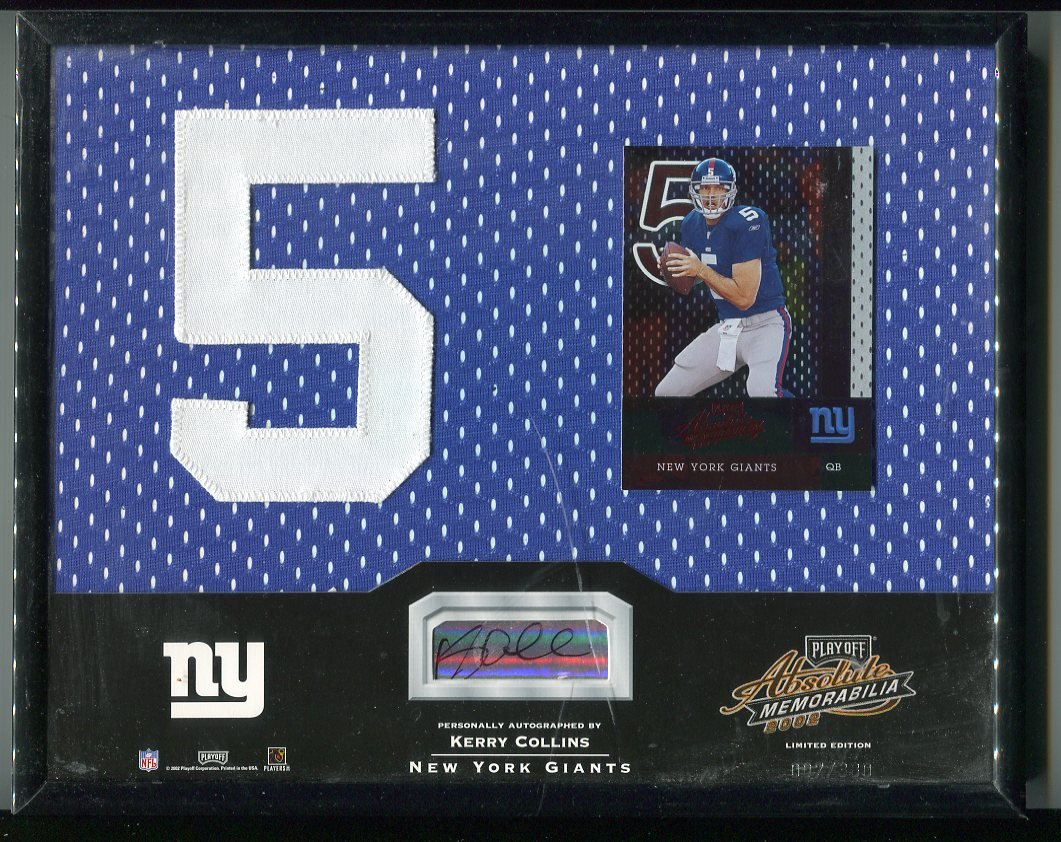 KERRY COLLINS 2002 Playoff Absolute FRAMED 8x10 Jersey Number Patch AUTO Penn State GIANTS QB #d/380
