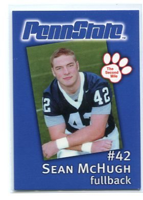 SEAN McHUGH 2002 Penn State Second Mile College card PRE-ROOKIE Steelers - First Card EVER!!!