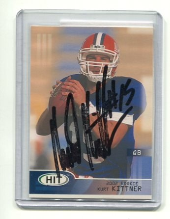 KURT KITNER 2002 Sage Hit #15 AUTO ROOKIE Falcons ILLINOIS Illini QB w/ COA