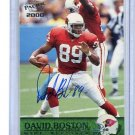 DAVID BOSTON 2000 Pacific #2 AUTO Arizona Cardinals OHIO STATE Buckeyes w/ COA