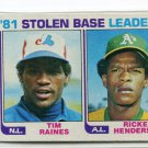 RICKEY HENDERSON / TIM RAINES 1982 Topps LL #164 Oakland A's