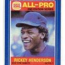 RICKEY HENDERSON 1987 Burger King All-Pro 2nd Edition #9 New York NY Yankees
