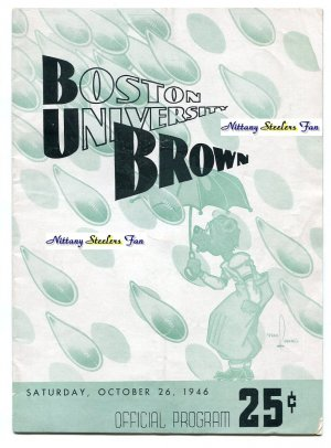 COACH JOE PATERNO College Football Game Program BROWN vs. BOSTON COLLEGE - October 26, 1946