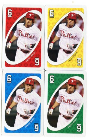 (4) JASON WERTH 2010 Uno Card Game CARD 6 all color PHILLIES Nationals