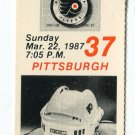 PW) PENGUINS @ FLYERS March 22, 1987 - 3/22/1987 Ticket Stub featuring RON SUTTER