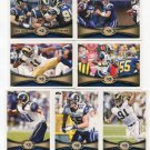 (7) St. Louis RAMS 2012 Topps Base TEAM Lot: Sam Bradford, Jackson, Long, Laurinaitis, more