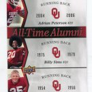 ADRIAN PETERSON / BILLY SIMS / TOMMY McDONALD 2011 UD College Legends All-Time Alumni SOONERS