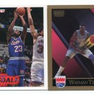 (2) WAYMAN TISDALE 1990-94 Skybox & Fleer LOT Kings OKLAHOMA Sooners