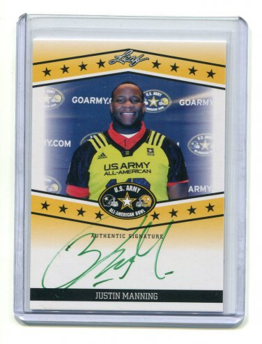 JUSTIN MANNING 2013 Leaf Army All-American TOUR AUTO Texas A&M 4-star DT #d/25