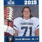 GAVIN WIGGINS 2015 Pennsylvania PA Big 33 High School card YOUNGSTOWN STATE