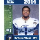 De'QUAN WARE 2014 Pennsylvania PA Big 33 High School card