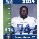 DONTAE ANGUS 2014 Pennsylvania PA Big 33 High School card WEST VIRGINIA Mountaineers DT