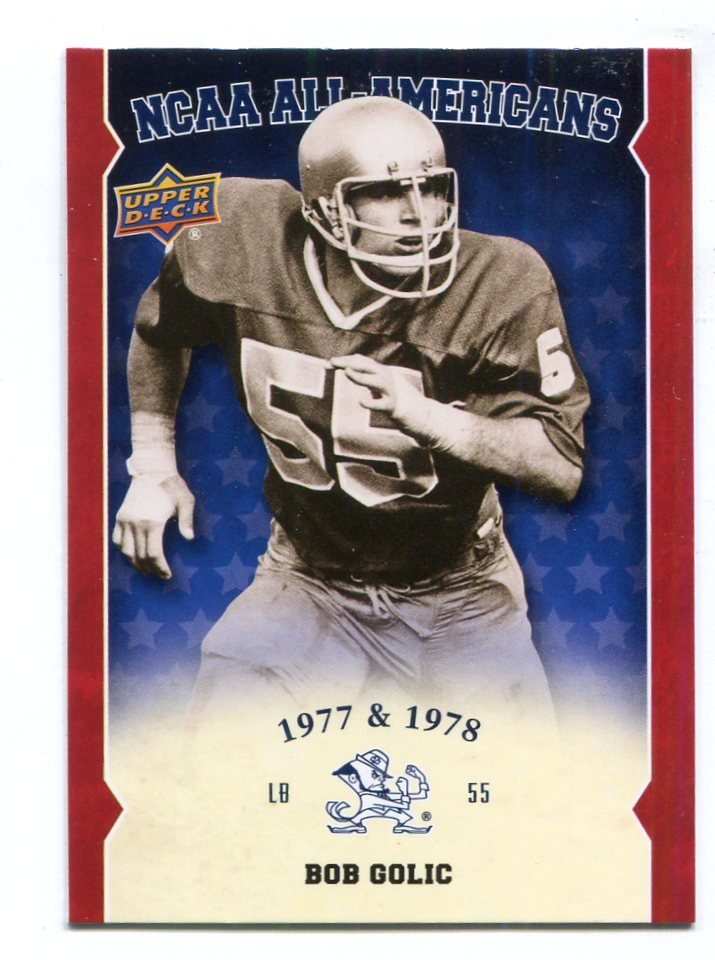 BOB GOLIC 2013 Upper Deck UD Collectible All-Americans INSERT Notre Dame Irish