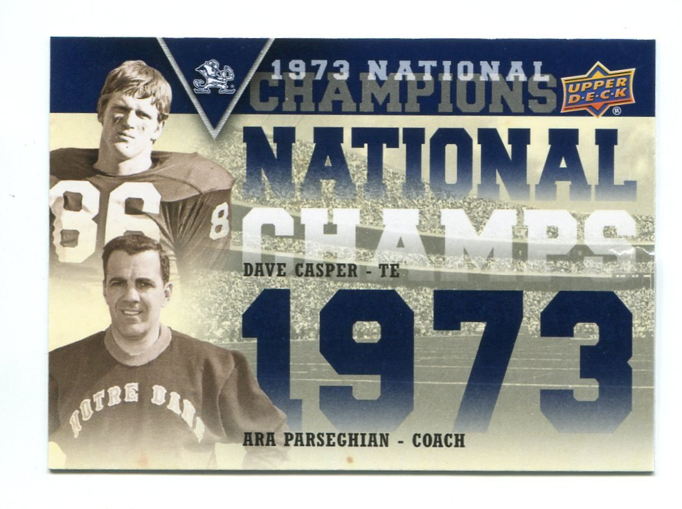 DAVE CASPER ARA PARSEGHIAN 2013 Upper Deck Collectible National Champions INSERT Notre Dame Irish QB