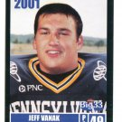 JEFF VANAK 2001 Big 33 Pennsylvania PA card NAVY